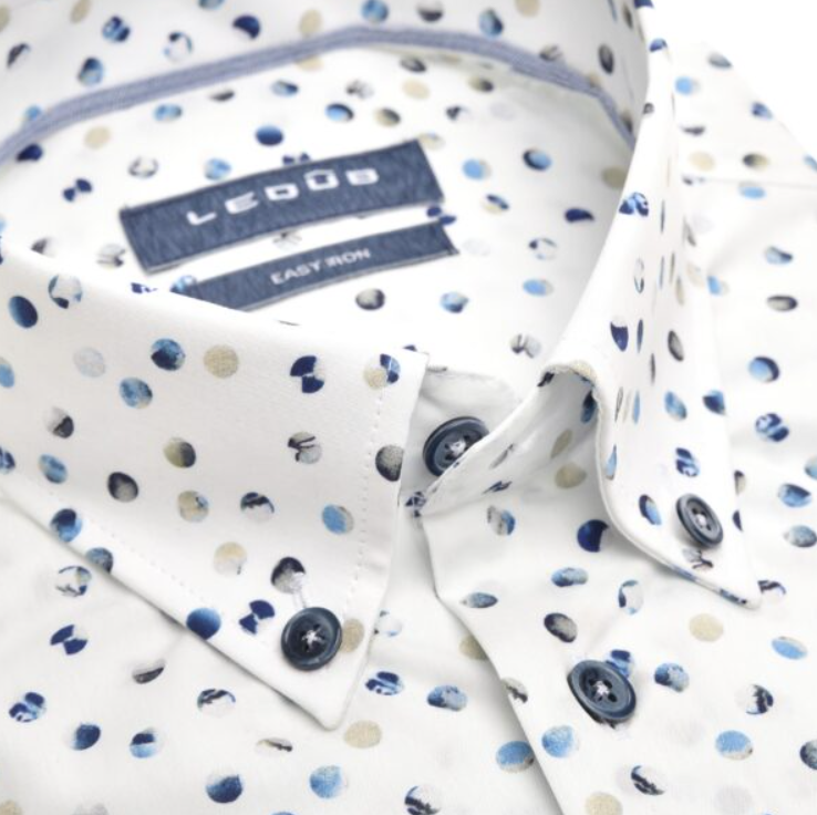 Ledub overhemd, korte mouw, multicolor print, modern fit