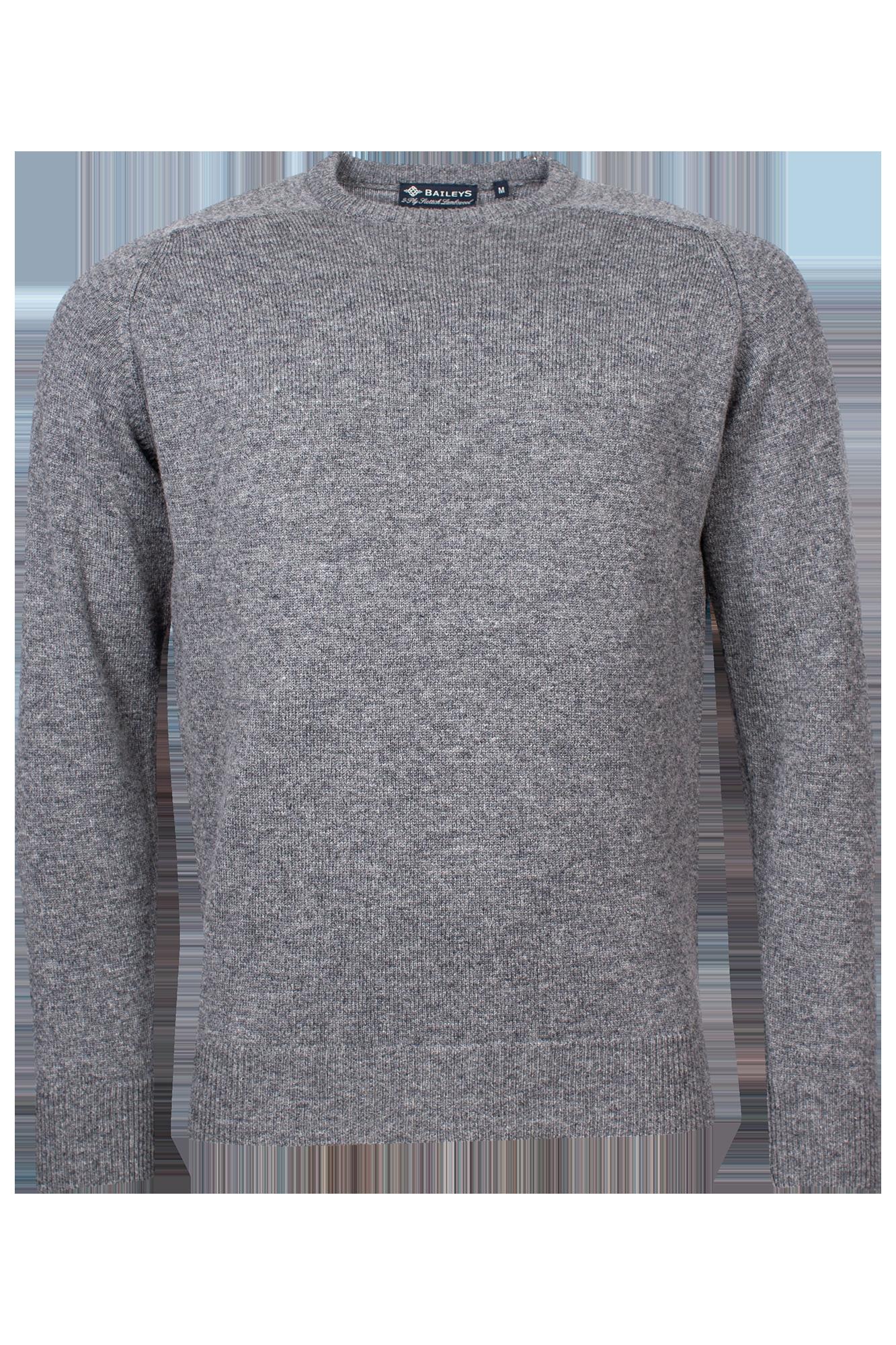 Baileys lamswollen pullover, ronde hals, grijs