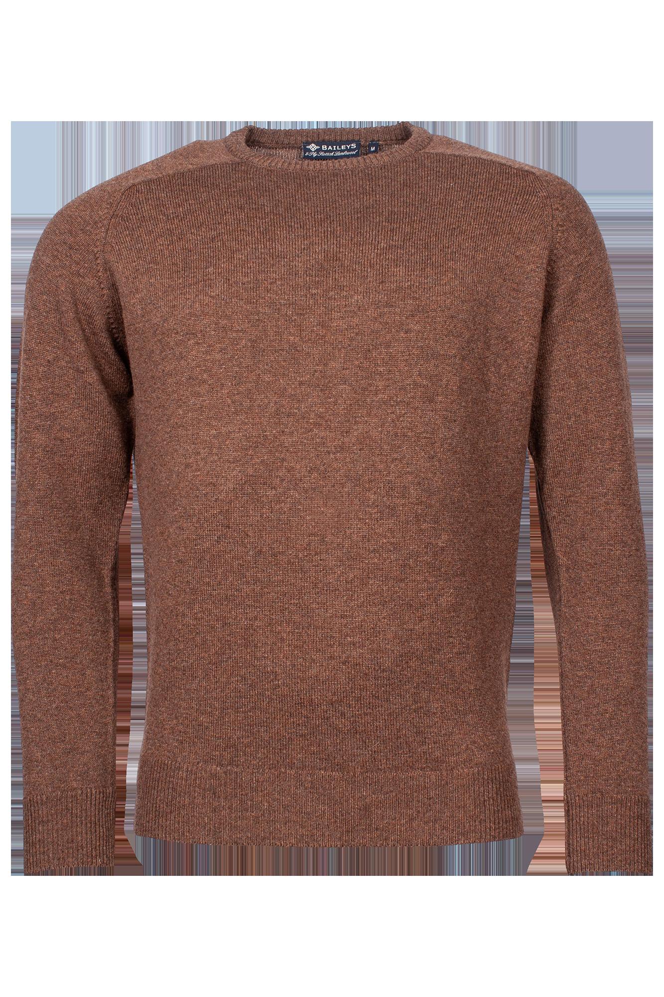 Baileys lamswollen pullover, ronde hals, bruin