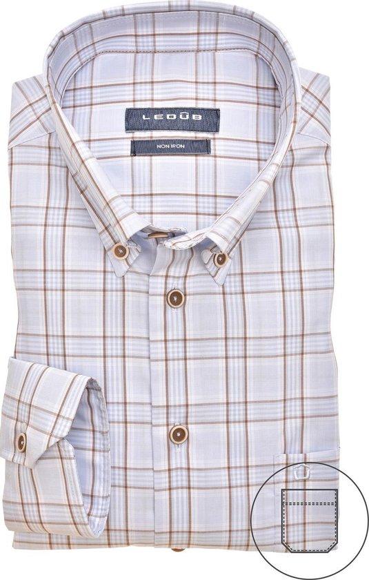 Ledub overhemd, blauw/beige ruit, lange mouw, modern fit