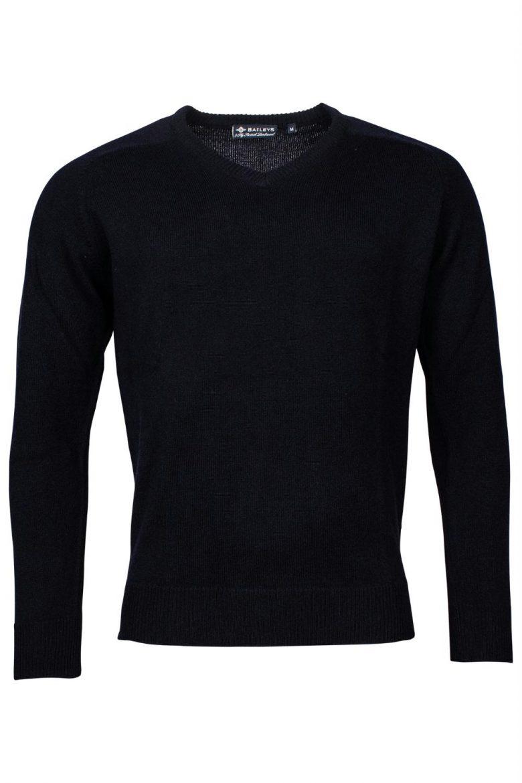 Baileys lamswollen pullover, v-hals, donkerblauw