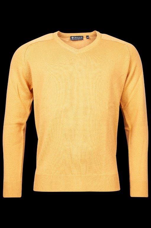 Baileys lamswollen pullover, v-hals, oker