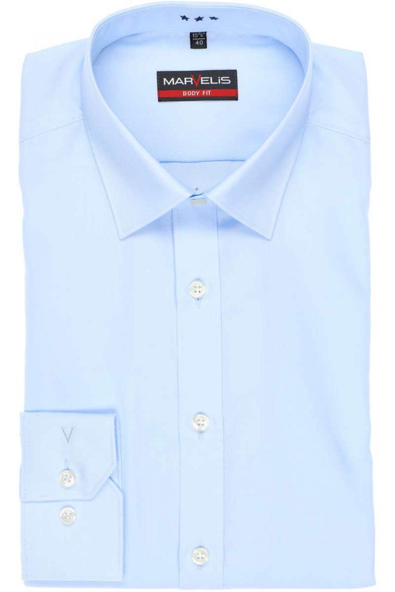Marvelis, body fit overhemd, lichtblauw
