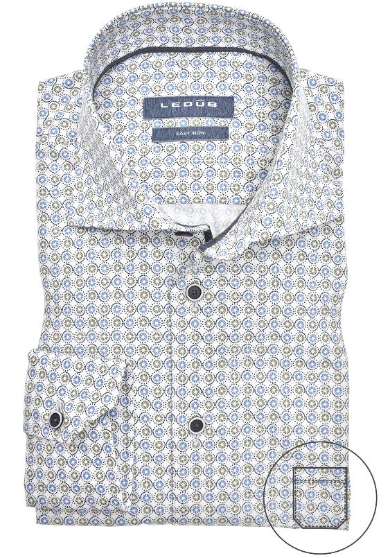 Ledub overhemd, blauw/wit/groen print, modern fit