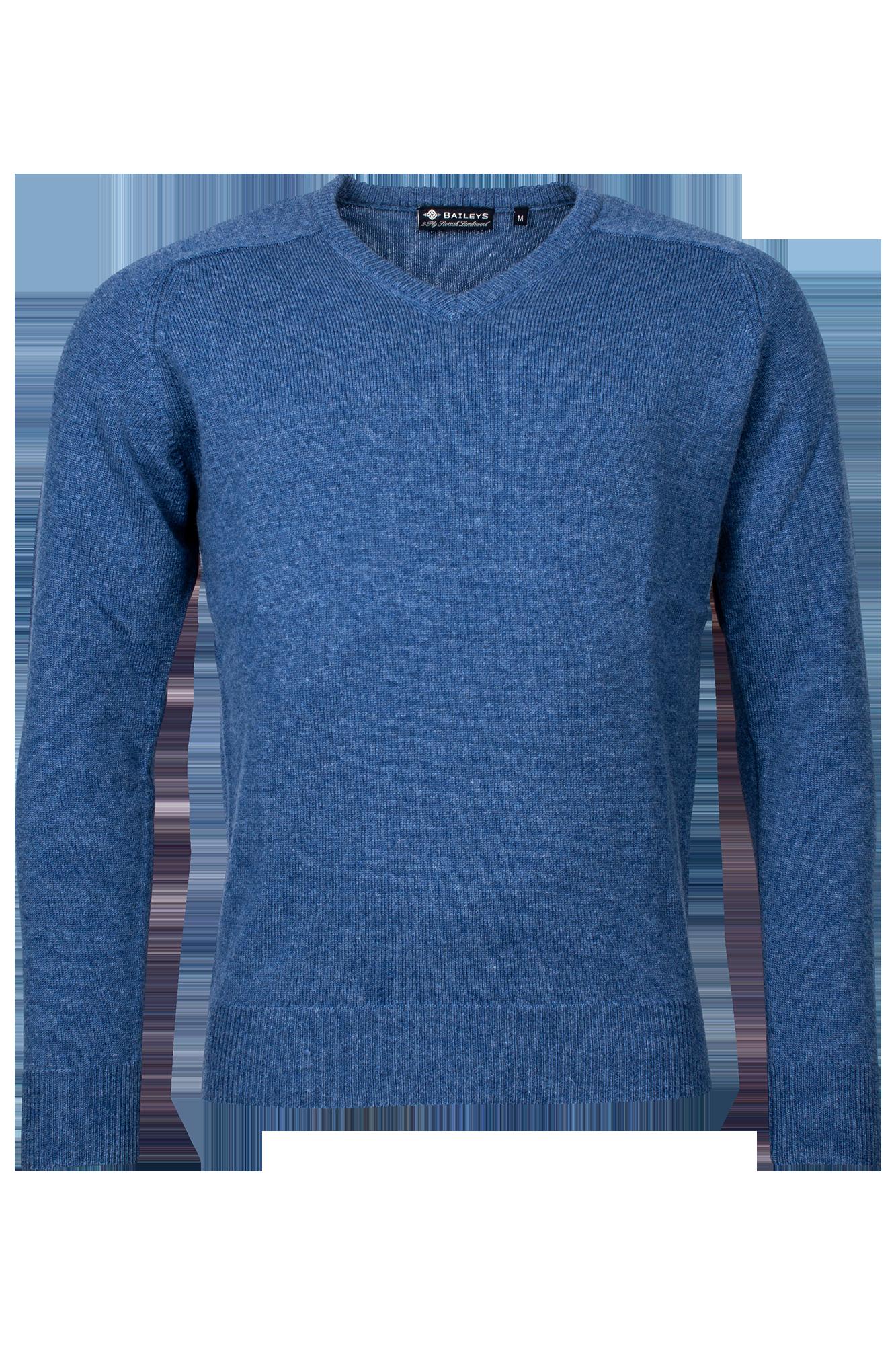 Baileys lamswollen pullover, v-hals, kobalt blauw gemêleerd