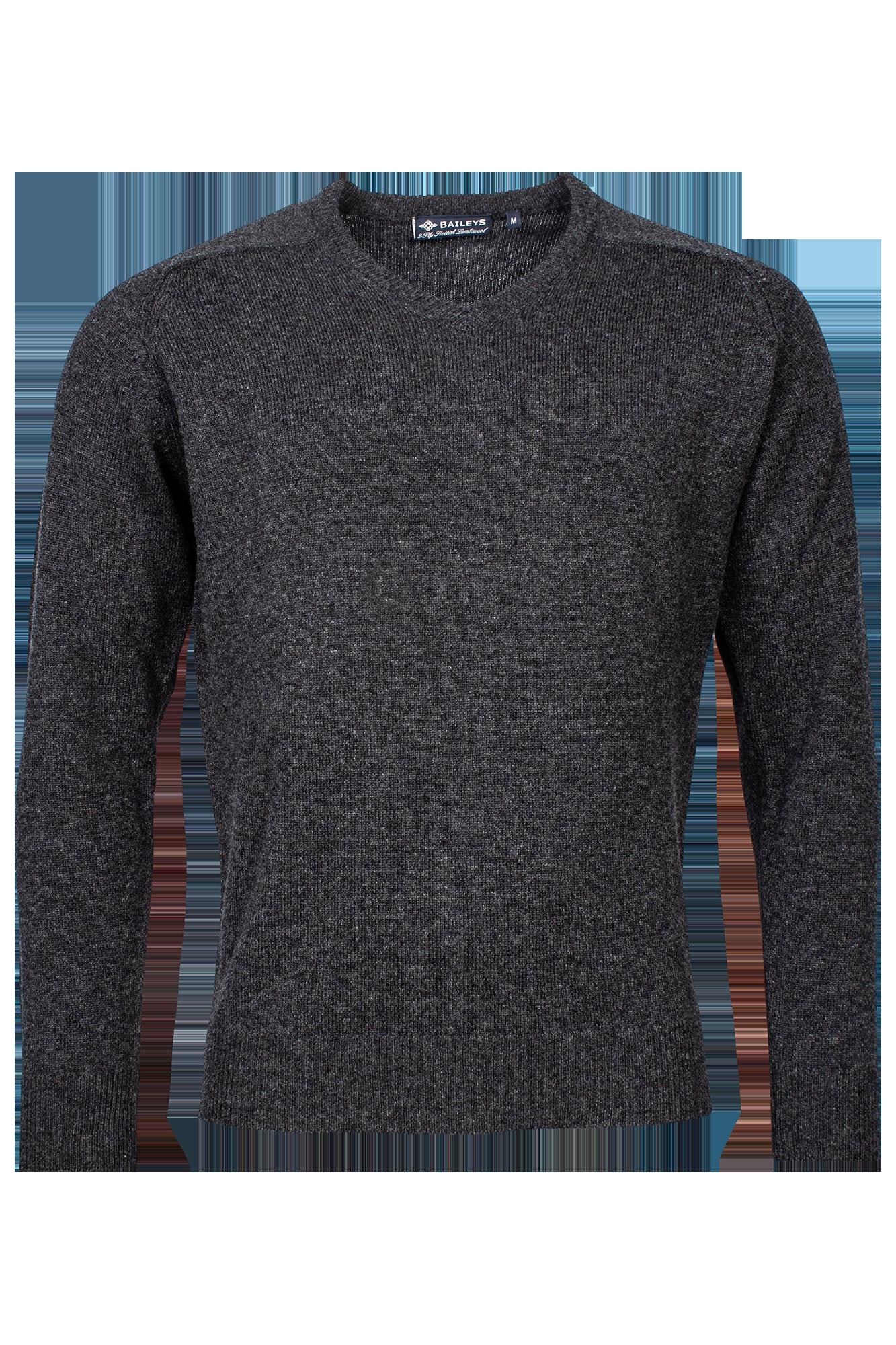 Baileys lamswollen pullover, v-hals, antraciet