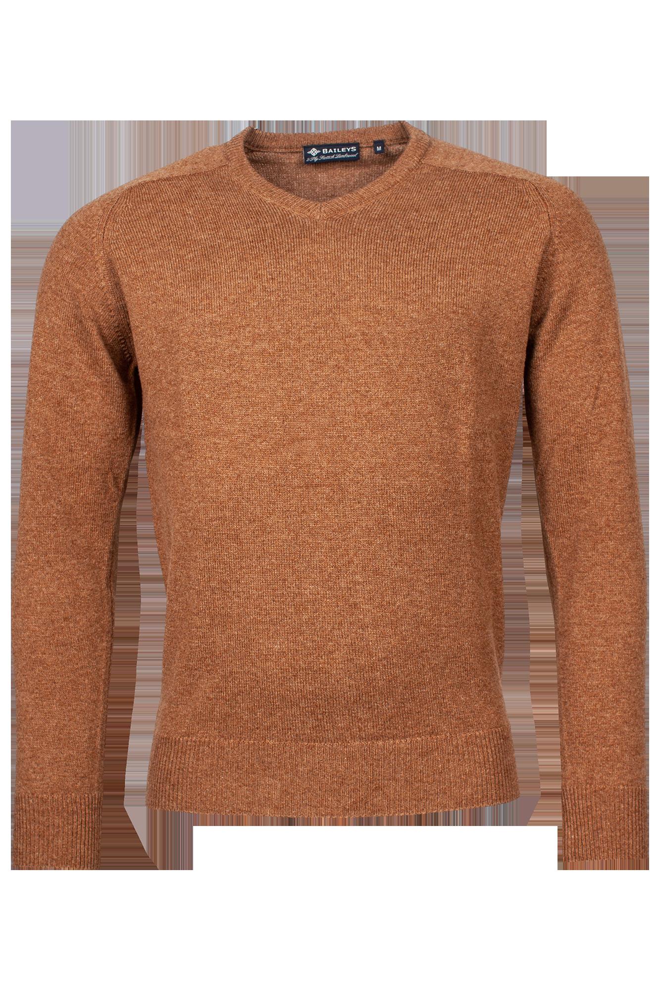 Baileys lamswollen pullover, v-hals, camel