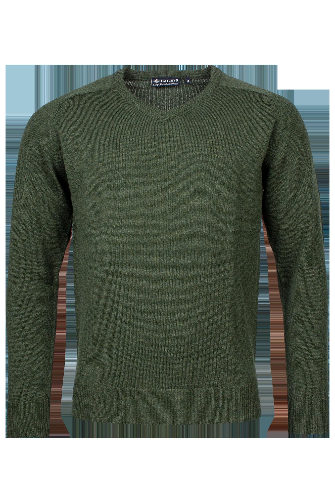 Baileys lamswollen pullover, v-hals, groen