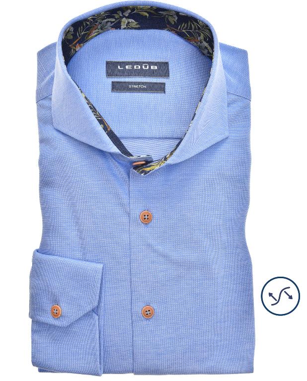 Ledub overhemd, lichtblauw tricot, modern fit