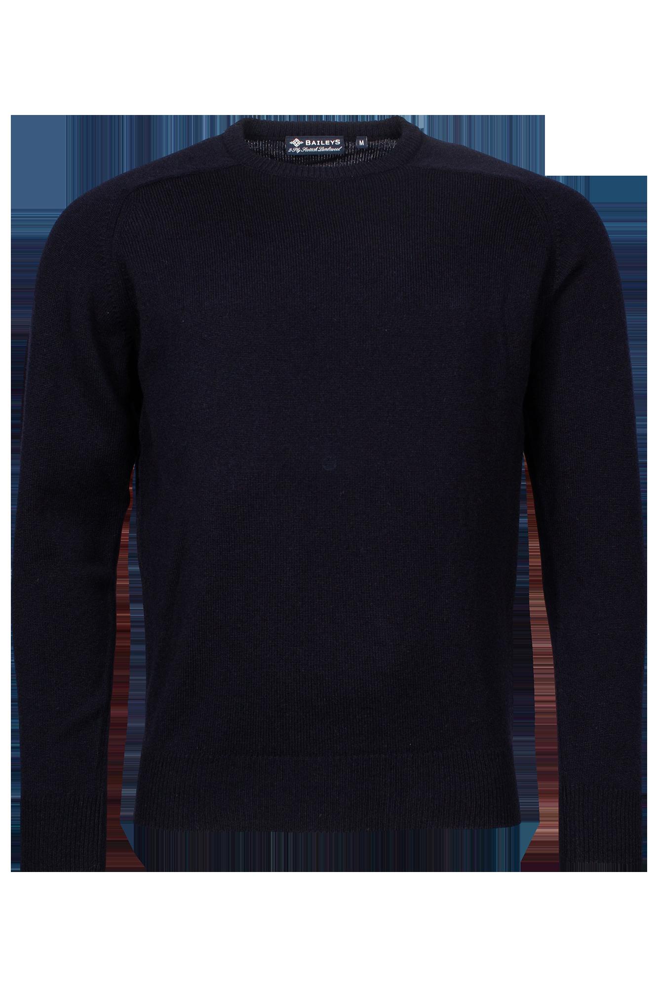 Baileys lamswollen pullover, ronde hals, donkerblauw