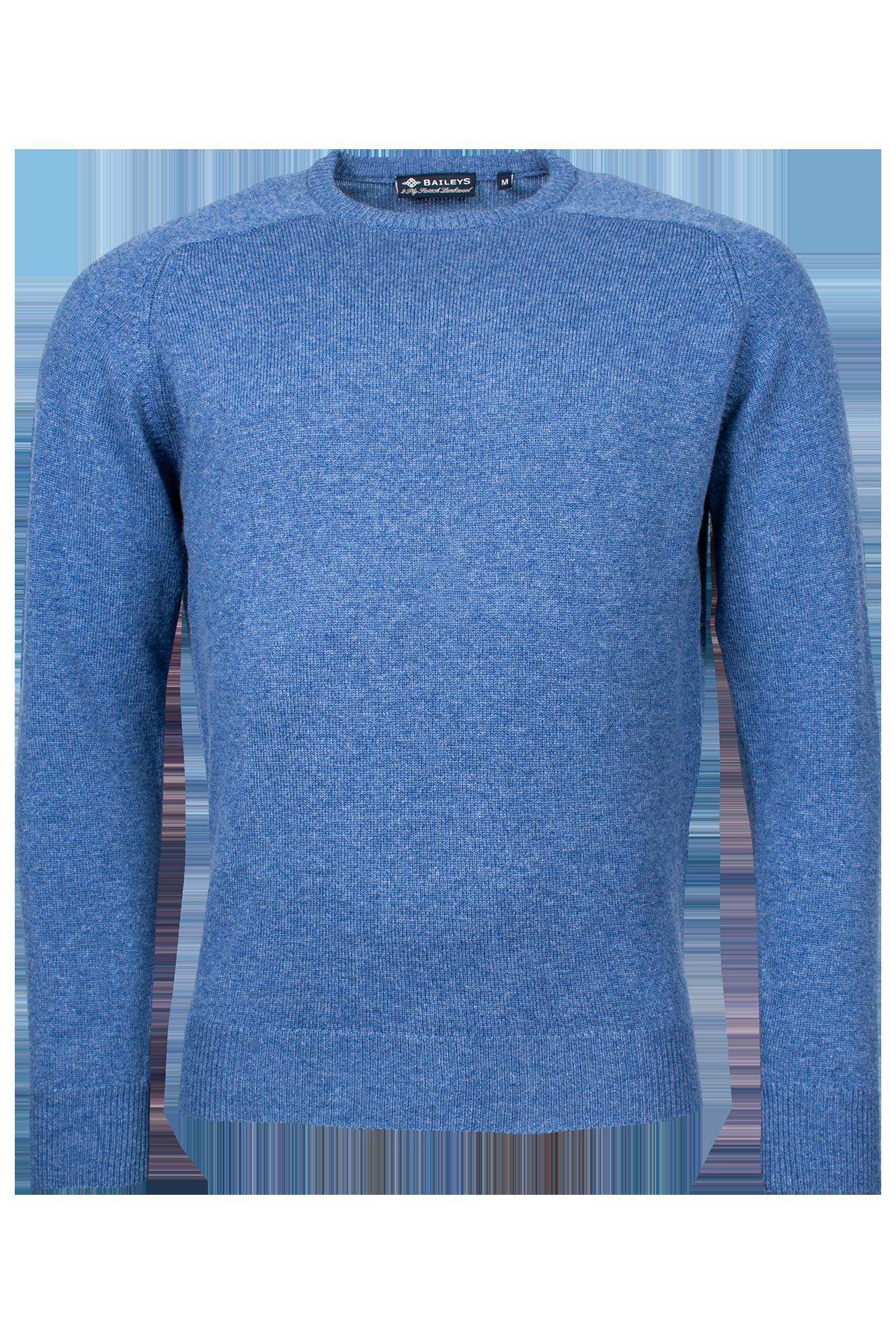 Baileys lamswollen pullover, ronde hals, kobalt blauw gemêleerd