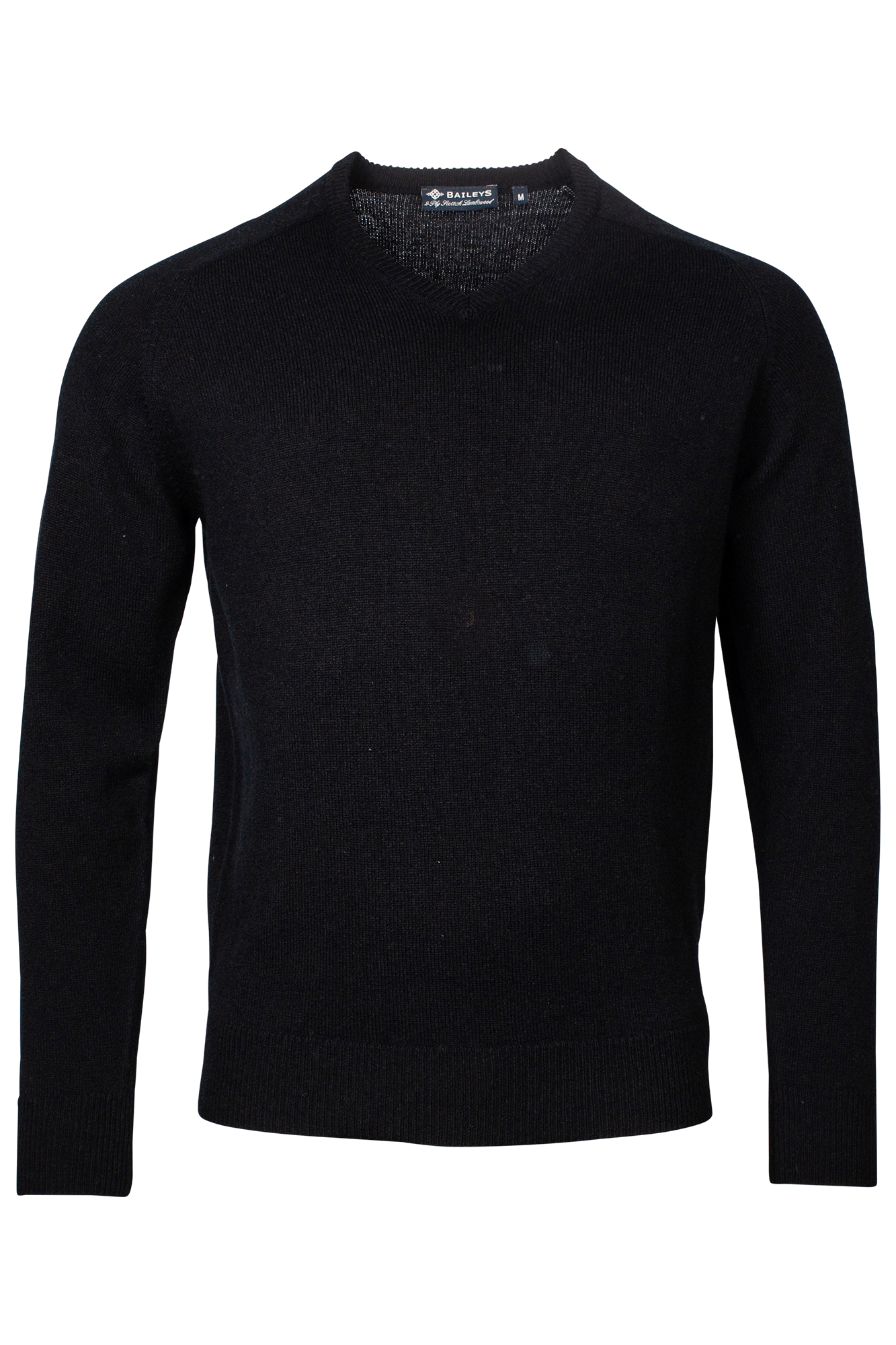 Baileys lamswollen pullover, v-hals, zwart