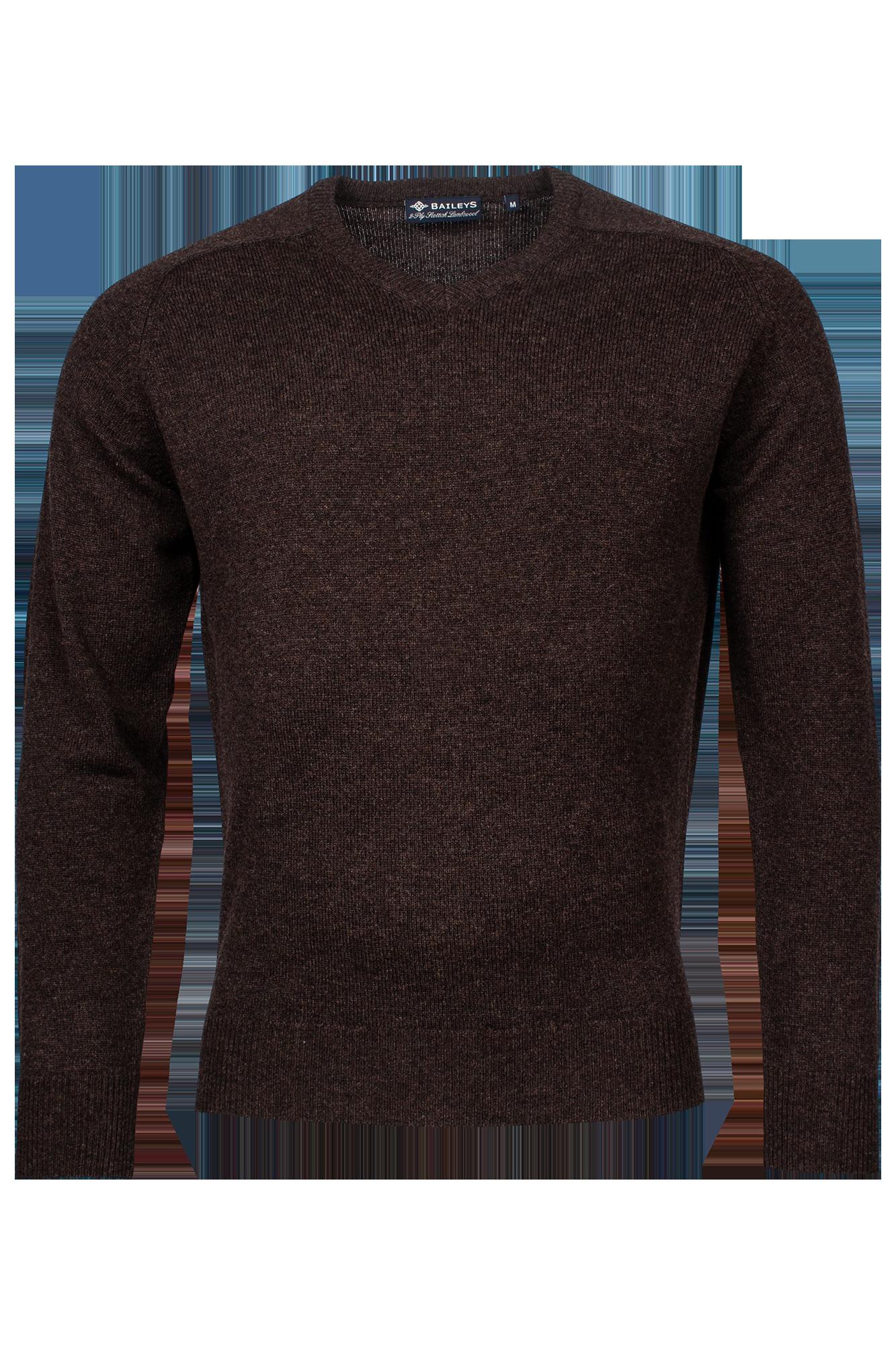 Baileys lamswollen pullover, v-hals, donkerbruin
