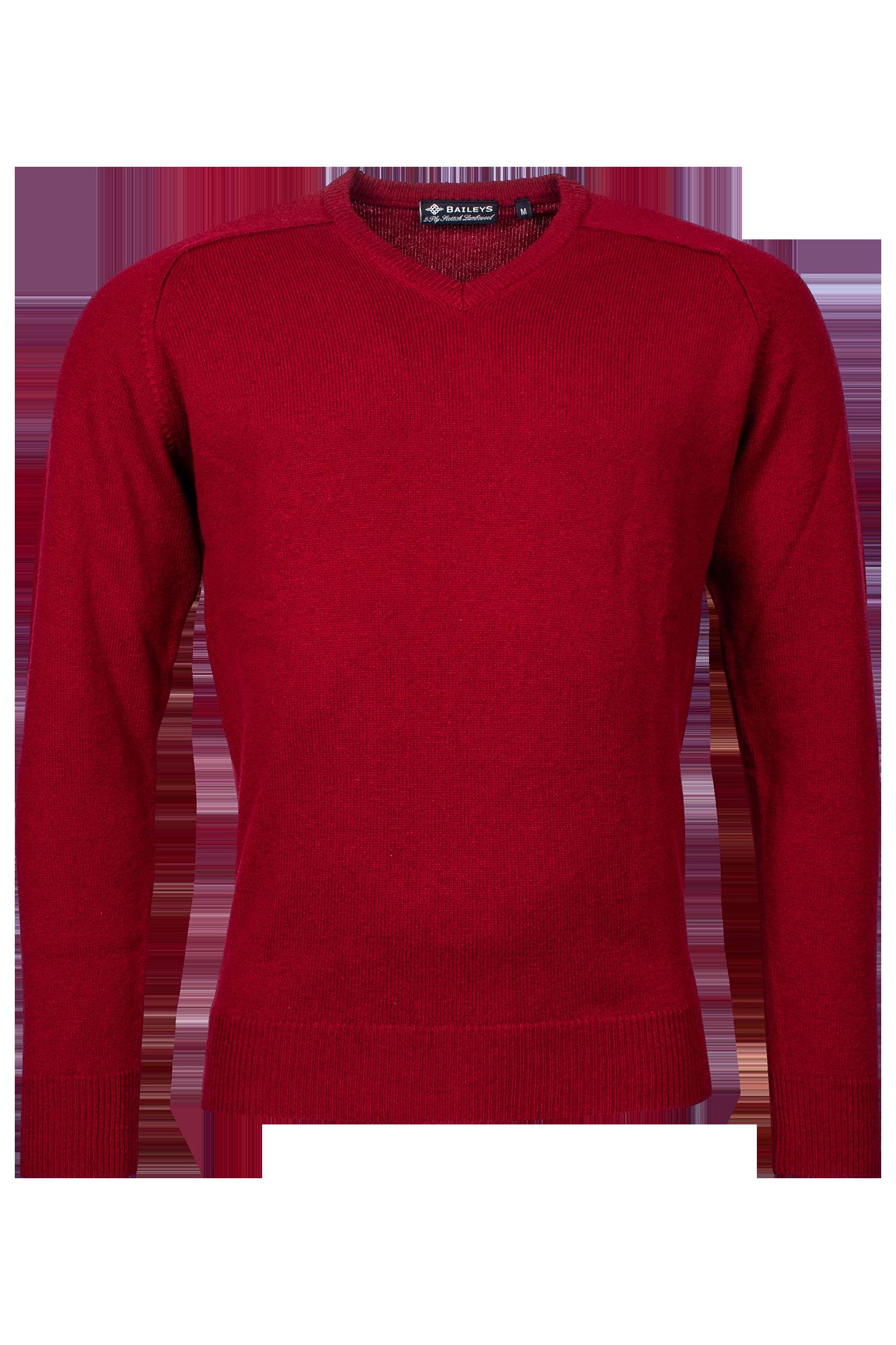 Baileys lamswollen pullover, v-hals, donkerrood