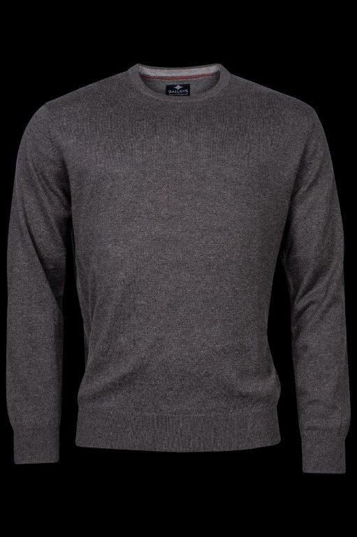 Baileys lamswollen pullover, ronde hals, antraciet