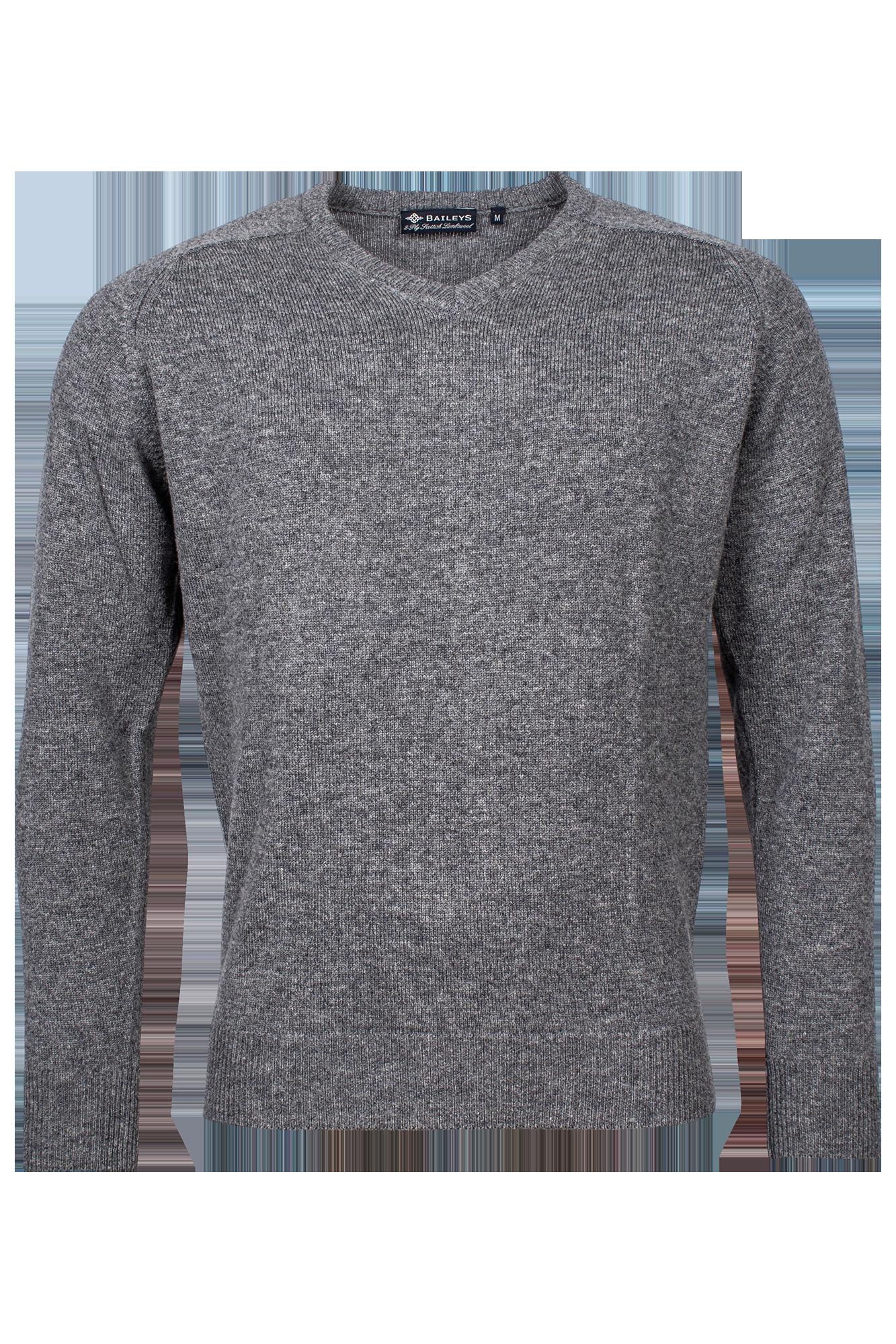 Baileys lamswollen pullover, v-hals, grijs