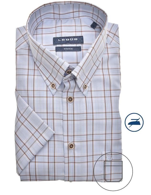 Ledub overhemd, blauw/beige ruit, korte mouw, modern fit