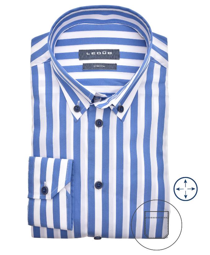 Ledub overhemd, blauw/wit gestreept, modern fit