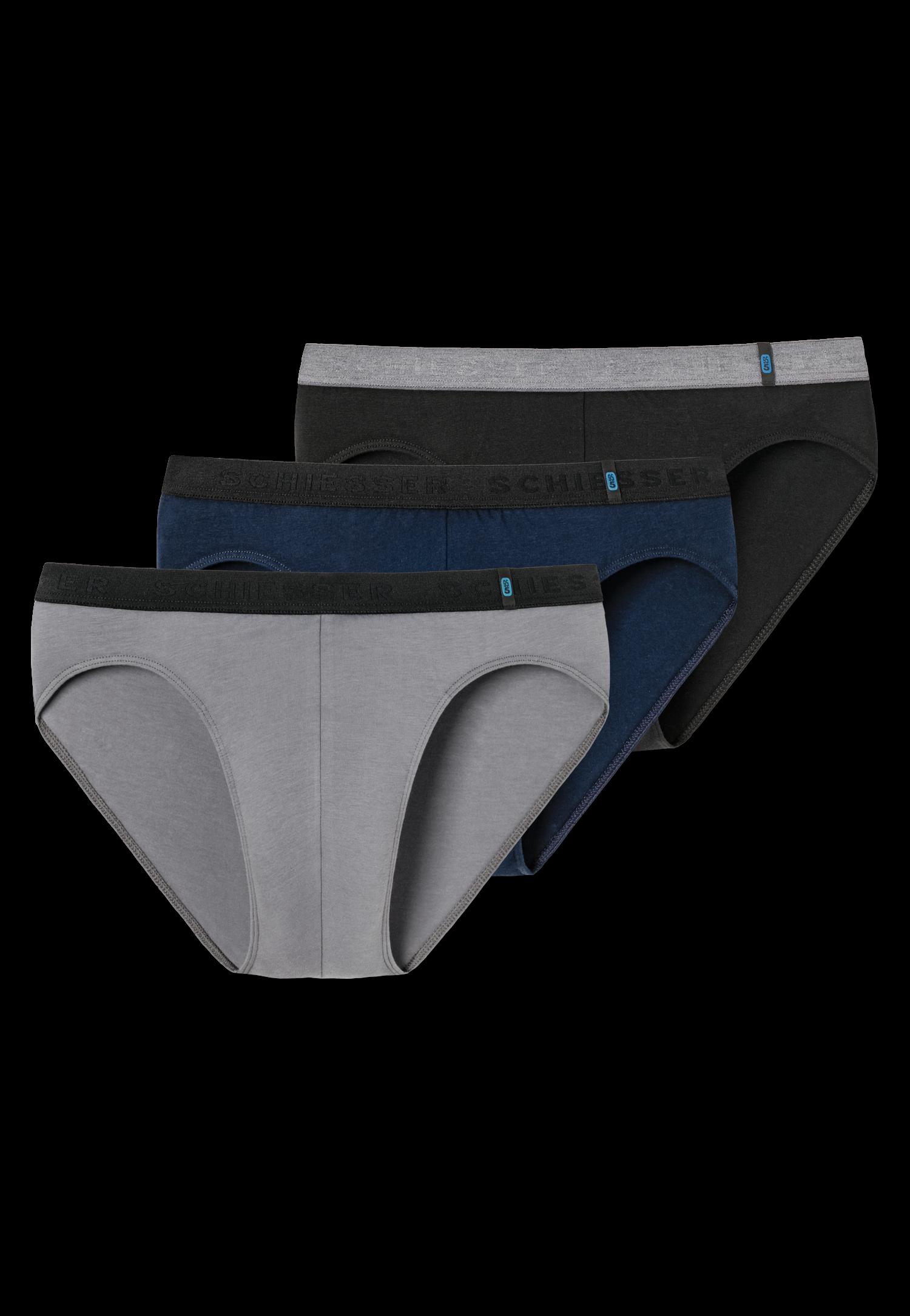 Schiesser 95/5 3-pack Rio slip zwart/grijs/blauw