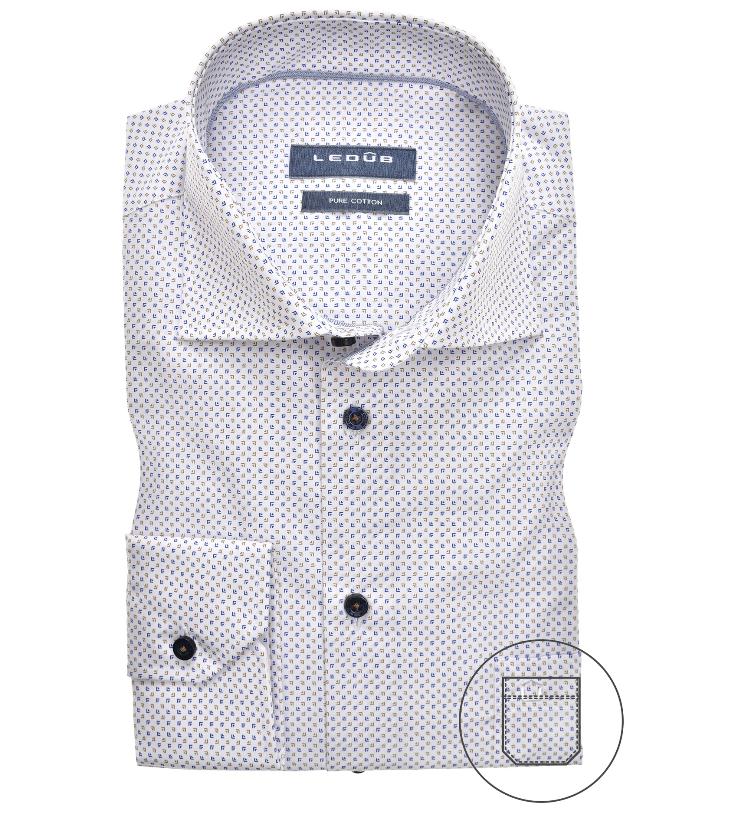 Ledub overhemd, blauw/beige print modern fit