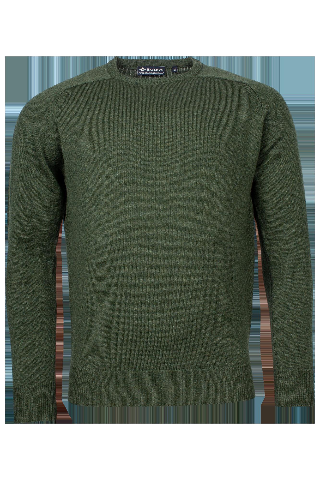 Baileys lamswollen pullover, ronde hals, groen