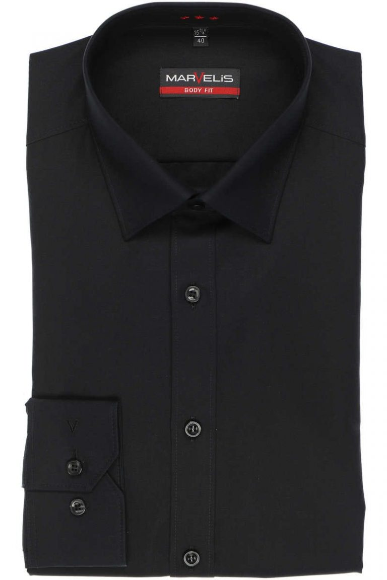 Marvelis, body fit overhemd, zwart