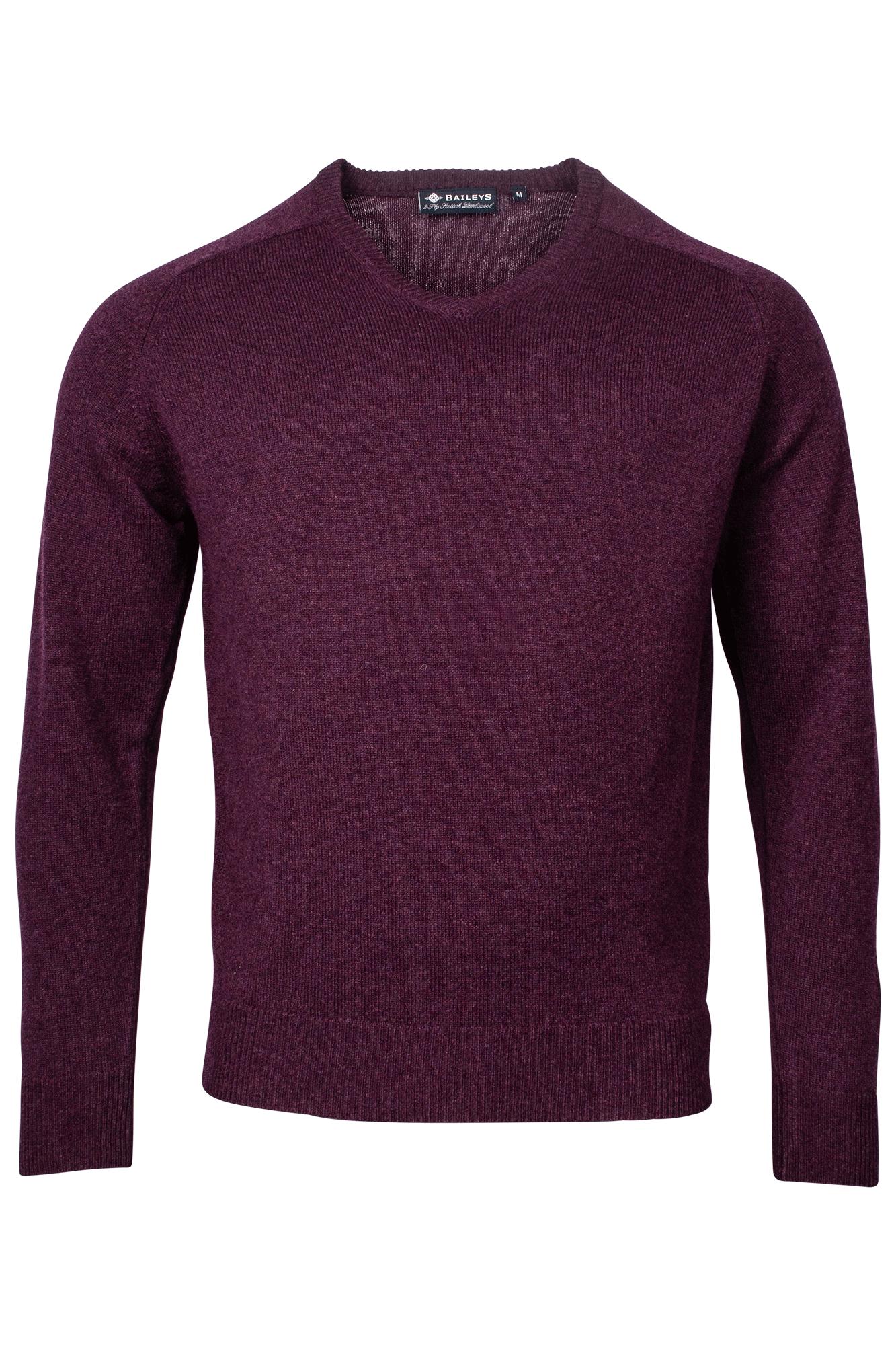 Baileys lamswollen pullover, v-hals, bordeaux