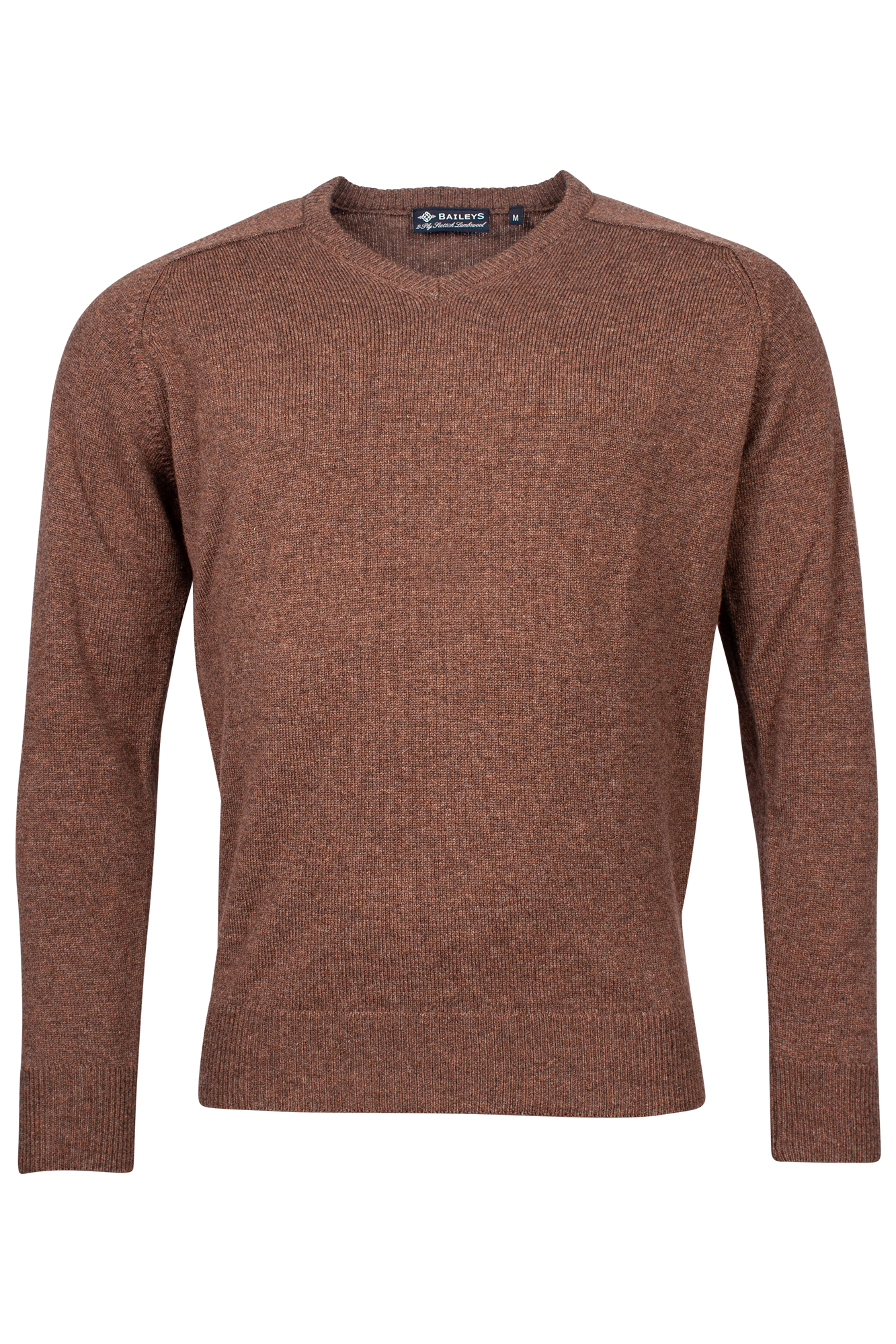 Baileys lamswollen pullover, v-hals, bruin